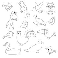 Vogels Digitale postzegels Clipart vector