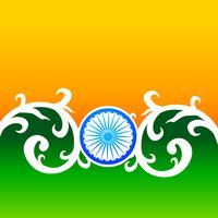 Creatief Indisch vlagontwerp met wiel en bloemen vector