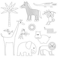 Jungle Animals digitale postzegels Clipart vector