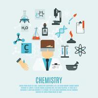 Chemie platte pictogrammenset vector