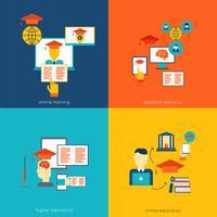 Online onderwijs plat vector
