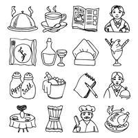 Restaurant gerechten zwarte omtrek pictogrammen instellen vector