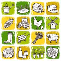 Landbouw Icon Set vector