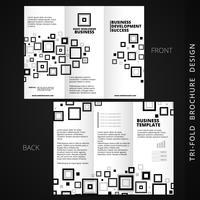 vector tri-fold brochue-ontwerp met meerdere vierkante vormen