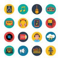 Muziekpictogrammen instellen mobiele ronde solide
