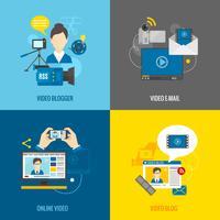 Video Blog platte set vector