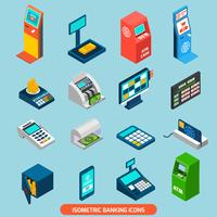 Isometrische bankwezen Icons Set
