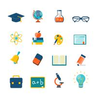 Onderwijs plat pictogrammen vector