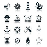 Nautische pictogrammen zwart