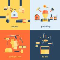 Home Reparatie Tools Flat vector