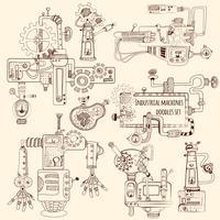 Industriële Machines Doodles Set