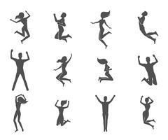 springende mensen instellen vector