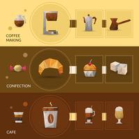 Poligonal koffie en zoetwarenbanner vector