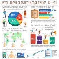 Elektronische patch infographics veelkleurige set vector