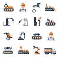 Productielijn pictogrammen vector
