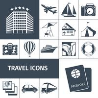 Reizen iconen zwarte set vector