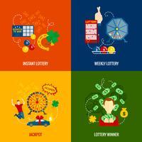 Loterij 4 plat pictogrammen vector