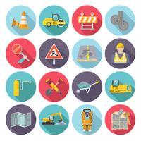 Wegwerker plat pictogrammen