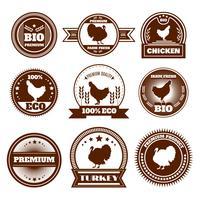 Eco boerderij kip Turkije emblemen vector