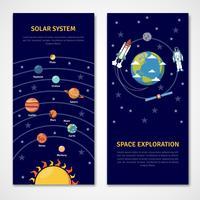 Zonnestelsel en banners voor ruimteverkenning vector