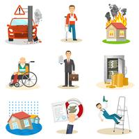 Verzekering en risico pictogrammen