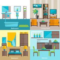 Binnenlandse ruimten die 4 vlakke pictogrammen verstrekken vector