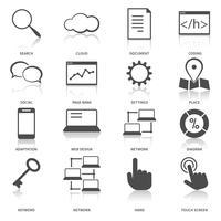 zoekmachine optimalisatie pictogrammen instellen vector