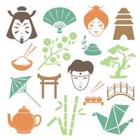 Japanse cultuur design elementen collectie vector