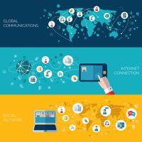Sociale netwerken horizontale banners instellen vector