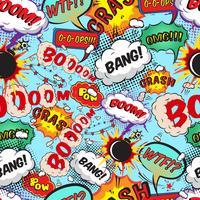 Naadloze patroon komische tekstballonnen vector