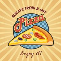 Pizza slice reclameaffiche vector
