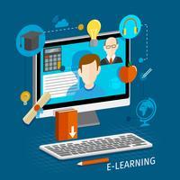 E-learning vlakke poster vector
