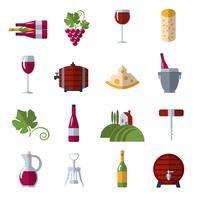 Wijn plat pictogrammen instellen vector