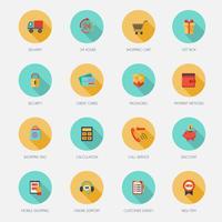 Winkelen pictogrammen voor e-commerce Flat