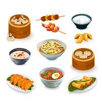 Aziatisch eten Set vector