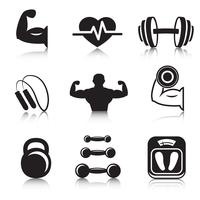 Fitness bodybuilding sport pictogrammen instellen