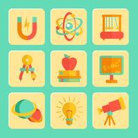 Natuurkunde plat ontwerp Icons Set vector