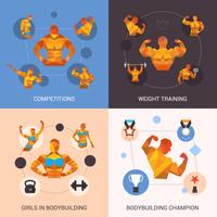 Bodybuilding veelhoekige set vector