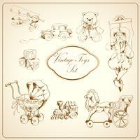 Retro speelgoed getrokken pictogrammen instellen