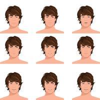 Man hoofd emoties portretten instellen vector