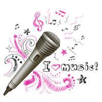 Muziek doodle microfoon
