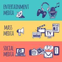 Media-bannerset vector