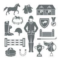 Jockey pictogrammen zwart