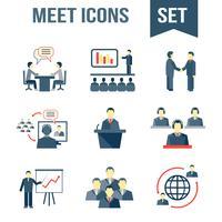 Ontmoet geplaatste bedrijfspartnerspictogrammen vector