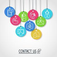 Neem contact met ons op met kartonnen labels en tags vector