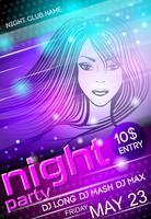 Nachtfeest sexy meisje poster vector