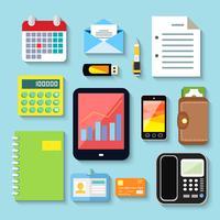 Zakelijke items en mobiele apparaten vector