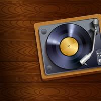 Vinyl platenspeler op houten achtergrond vector