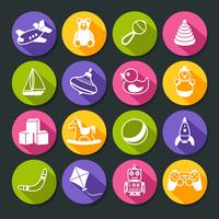 Speelgoed Ronde Icons Set vector
