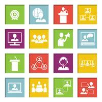 Ontmoet mensen online Icons Set vector